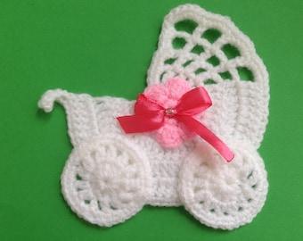 Crochet stroller,pushchair applique,embellishment,motif,sewing,for baby blankets,craft,pink