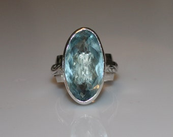 aquamarine quartz ring - large aquamarine statement ring - plus size statement ring - blue gemstone ring - blue quartz ring