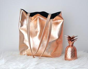 EMMA BAG Borsa pelle oro rosa, borsa rose gold, borsa pelle, borsa oro rosa, borsa vera pelle, borsa rosa, borsa metallizzata, borsa oro