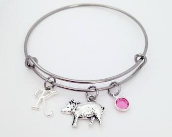 Pig Gifts, Pig Bangle Bracelet, Pig Lover Gift, Pig Birthday, Adjustable Bangle Bracelet, Pig Jewelry, Pig Farmer, Gift for Her, Pig Charm