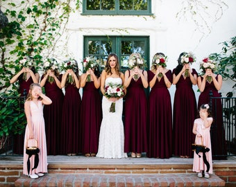 Restless Sea Burgundy- Silky Satin Jersey~ Octopus Convertible Infinity Wrap Dress ~ Marsala Bridesmaids, Wedding Guest