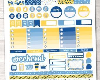 Printable Planner Stickers Weekly Kit for ECLP Full Boxes Ombre Boxes Appointment Boxes Washi & More in Yellow and Blue