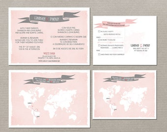 Destination wedding invitation Bilingual RSVP - Two Countries, Two Hearts One Love English-Portuguese grey pink blush  DEPOSIT Payment