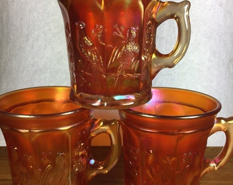 Northwood Amber Red Singing Bird Mugs 3pc