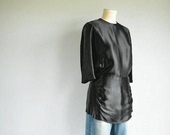 Vintage 1930s Black Liquid Satin Ruched Evening Blouse