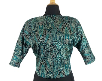 Paisley Lurex Crop Top - Size Small / shoulder pads 80s retro green patterned teal cropped blouse quarter sleeves vintage 1980s batwing top