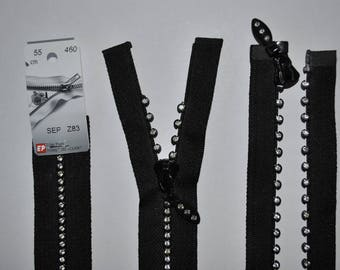 zip up to 55cm detachable black Z83 460 molded plastic mesh rhinestones and rhinestones