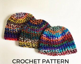 Crochet Pattern- Scrap Yarn Beanie Crochet Pattern- Stash Buster- Womens Boho Beanie- Mens Easy Crochet Hat Pattern- Instant Download