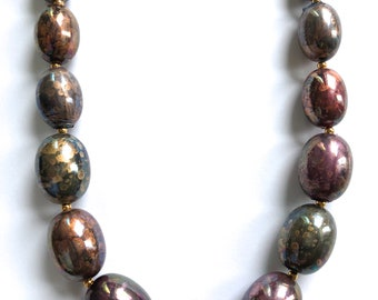 "iridescent painted beaded necklace graduated 24"" metallic"