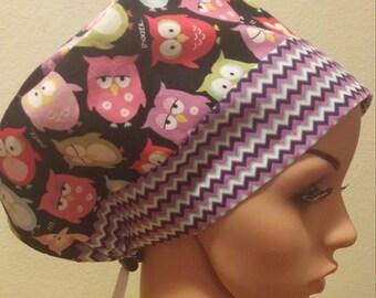 Women's Surgical Cap, Scrub Hat, Chemo Cap, Sleepy Owls