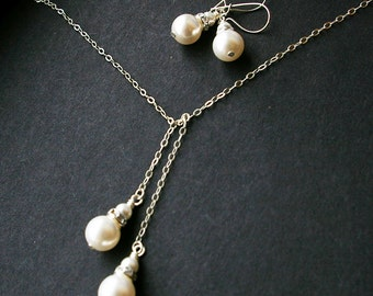 Simple Pearl Bridal Jewelry Set, Swarovski Pearl & Sterling Silver Lariat Necklace Earrings SET, Simple Wedding Jewelry, Bridal Party Gifts