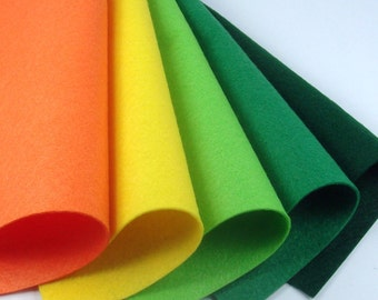 5 Colors Felt Set - Dahlias - 20cm x 20cm per sheet