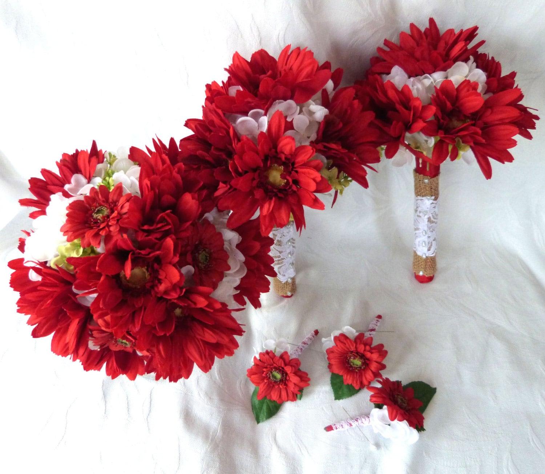 6 Piece Set Wedding Bouquets Red Gerbera And White Hydrangea