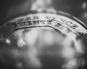 The Money Shot, fine art photography, black and white photography, wall art, money print, macro