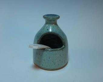 Salt Pig / Salt Cellar Salt Box Spice containter with Handmade Spoon - Frosty Blue Green