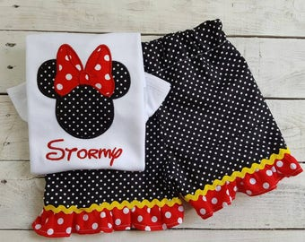 Girls Disney Outfit w/bow, Sample Sale, Disney Ruffle Shirt, Baby Girl Vacation, Sibling embroidery, Big Little Sister Shirt, embroidered