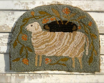 Tombstone Sheep Rug Hooking Pattern from Notforgotten Farm ~ ON LINEN