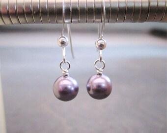 Swarovski ® pearl earrings - sterling silver mauve pearl earrings - purple pearl earrings - bridal gift - wedding earrings | SPWE-2