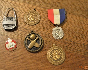 Six Bowling Medal's Awards ,Sports Lot,collectibles,80's -90's,Key Ring,Red White and Blue Ribbon,Pendants,Charms