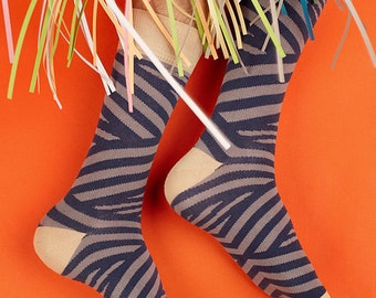 Laplace Women's Socks, Laplace Dark Stripe Women's Socks, Stripe Socks for Women