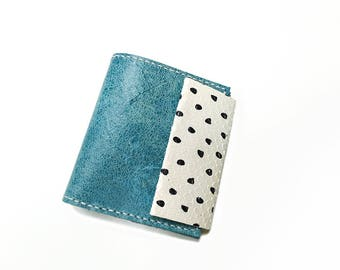 Leather wallet. Blue wallet. leather coin purse. Leather bifold. Woman wallet. Handmade wallet