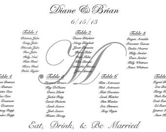 Elegant Table Number Wedding Seating Chart
