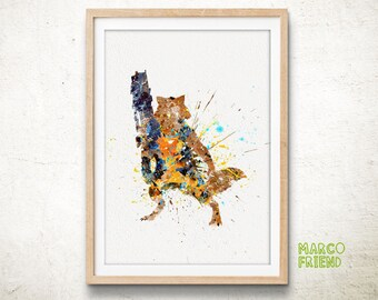 Guardians Of The Galaxy Print, Rocket Raccoon Print, Marvel Superhero, Watercolor Art, Kids Decor, Home Decor, Wall Art, Christmas Gifts -82
