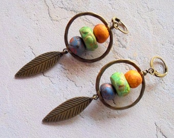 Blue, Green, Yellow and Brass Leaf Earrings (4234)