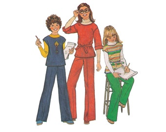 Simplicity 8122, 70s sewing pattern, size 10 girl's top, girl's pants, side slit top, straight pants