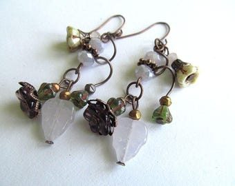 Lavender Flower Vine Earrings, Enchanting jewelry, Boho Botanical Earrings, Artisan Earrings, Czech glass Earrings, Moonlilydesigns, Boho