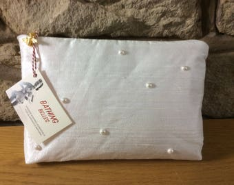 Silk with Pearls & Bee Zip Luxury Ultra Glamorous Wash Bag