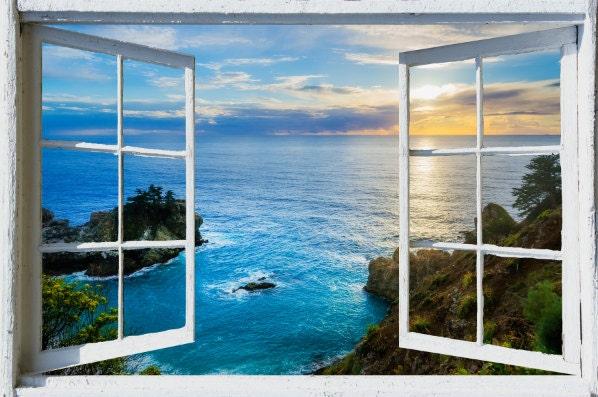 Wall mural window self adhesive California open window