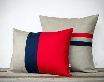 Poppy Red and Navy Pillow Set: Color Block Pillow (12x16) Striped Pillow (16x16) by JillianReneDecor | Modern Home Decor | Colorblock