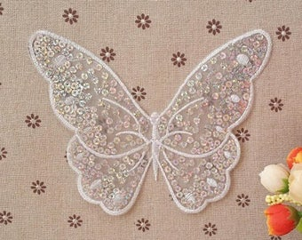 17 * 14cm; nice large transfer for fabric Butterfly embroidered and dotted with some white iridescent sequins