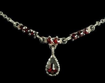 OSSIAN, garnet, Czech jewel, necklace