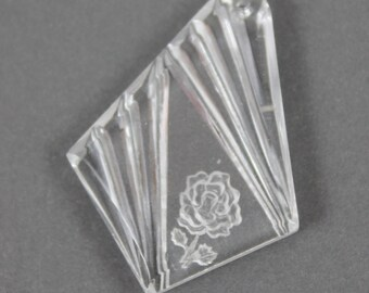 Vintage Western Germany Frosted Intaglio Clear Glass Striped Flower Diamond Pendant