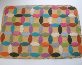 "Wool Mat of Many Colors 18"" x 13"""