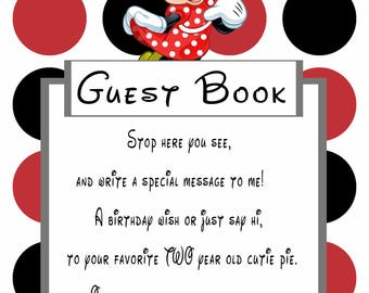 Minnie Mouse Red Guestbook Sign for 2 year old girl