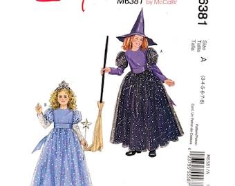 Mädchen Kostüm Muster Princess & Hexe Kostüm McCalls 6381 Kleid und Hut Mädchen Größe 3 bis 8 Schnittmuster ungeschnitten
