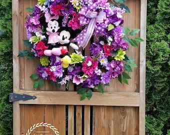 Disney Wreath, Mickey and Minnie Wreath, Mickey Mouse Wreath, Minnie Mouse Wreath, Summer Wreath, Disney Front Door Wreath, Disney Decor