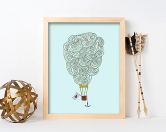 "framed wall art, framed art prints, large framed art, large framed wall art, cloud art, wall art prints, colorful - ""Cloud Balloon No. 3"""