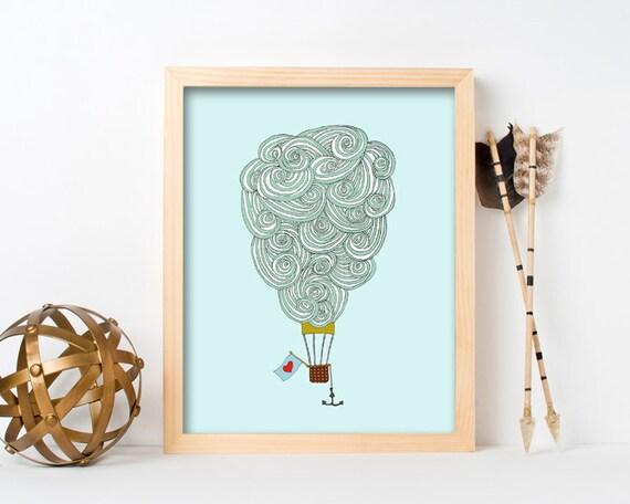 "framed wall art, framed art prints, large framed art, large framed wall art, cloud art, wall art prints, colorful - ""Cloud Balloon No. 3"""