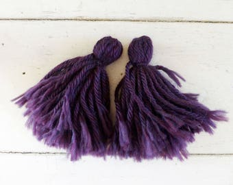 Yarn Tassels, Handmade Tassels, Purple Tassels, ready to ship, Tassels for sale, frayed ends, tassels for crafts, dark purple tassels