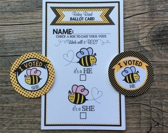 Baby BEE Gender Reveal Voting Ballots and I VOTED stickers - Personalized - He or She, Which will it BEE?! - set of 12 ballots & 24 stickers