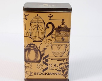 Vintage Tin Box - Finnish Stockmann 125 Anniversary Coffee Tin Box