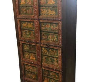 Antique Armoire India Cabinet Chest Ganesha Hand Painted Ancient Spirituality Design RESORT HOTEL DESIGN