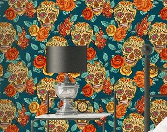 Sugar skull Wallpaper - Removable Wallpapers - Floral Boho Wallpaper - Self Adhesive Wall Decal - Temporary Peel and Stick Wall Art