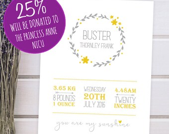 Personalised New Baby Details Yellow Wreath Poster - 8x10 inches Print