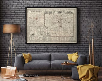 Map of Tehran| Old Map of Iran| Tehran Old Map| Tehran Street Map| City Plan of Tehran| East Asia| Middle East| Old Map Wall Art | AMC159