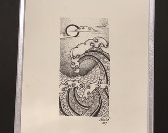 Original Ocean Waves Pen and Ink Drawing Dotwork Blackwork Matted
